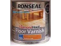 RONSEAL diamond hard MEDIUM OAK SATIN floor varnish 2.5ltr tin