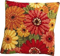 Gerbera Flowers - Vervaco 1200/998 - Large Holed Canvas Tapestry Cushion Kit
