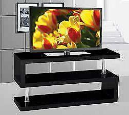 IF-5015B TV Stand - Glossy Black / Chrome (Also available in white)