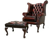 Good as new oxblood leather chesterfield chair and matching footstool