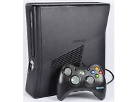 Xbox 360 Slim 4GB with power lead, controller and 4 games