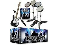 Rock band guitar and drum set for PS2/PS3