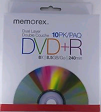 10 DVD+R Double Layer Discs 8.5GB Data 240mins Video Burn Movies