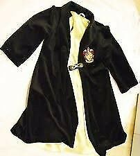 HARRY POTTER VELVET ROBE WITH GOLD LINING AGE 8/10 with wand GREAT FOR PARTY OR HALLOWEEN