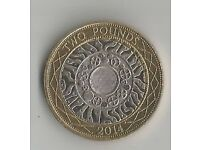 2014 Technology Two Pound Coin With Mint Errors