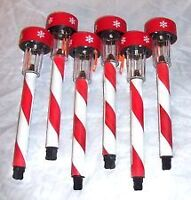 New Holiday Christmas Candy Cane Solar Light Stakes Path Light