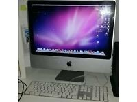 Apple imac pc moniter with keyboard and mouse