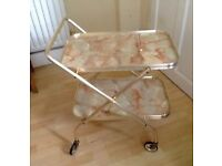 WANTED Folding tea trolley in very good or excellent condition also vintage PYREX dishes 60s 70s