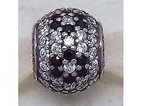Genuine Pandora Black Cherry Blossom Pave charm 791170NCK - Retired