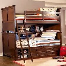 Pottery Barn inspired double over double bunk beds