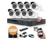 cctv camera system ahd 4 cameras and dvr 8 channel 1tb hard drive