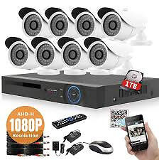 cctv camera system ahd dvr 8 channel with 1tb harddrvie 8 ahd cameras 2mp phone app free xmeye