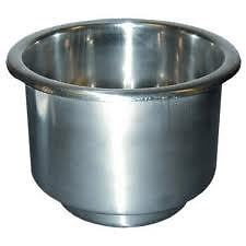 Steped Stainless Steel Drop-in Boat Cup Holder W/ Drain