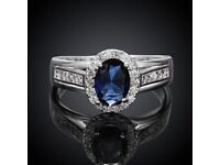 Fashion Jewelry Silver Blue Stone Ring