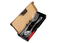 brand new ALESSI SERVING CUTLERY..STAINLESS STEEL SPOON AND FORK SET...CHRISTMAS TABLE!!!!