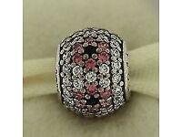 Genuine Pandora Pink pave Cherry Blossom charm 791129CZ - Retired
