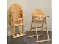 East coast wooden high chair with cushion insert