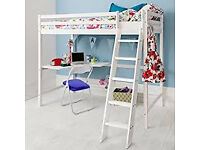 Single white bunk bed with underneath desk. will suit a child from 5 - 12 years old. No matterss.