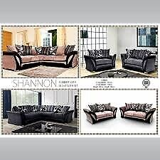 SHANNON SOFA- BRAND NEW FABRIC & FAUX LEATHER SHANNON CORNER | 3 2 SEATER GREY