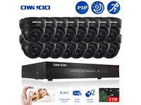 cctv camera system hd/ahd/nvr dvr 16 channel with 4tb hd + 16 hd cameras phone app free xmeye
