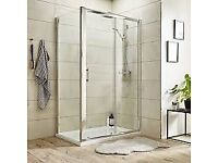 Brand new rectangular shower enclosure to fit 1100x900mm tray, 1850 H, polished chrome. Sliding door
