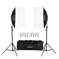 Pro photography studio lighting soft-box light stand portable kit