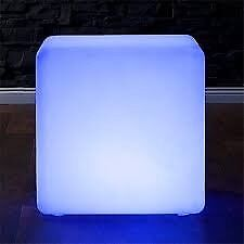LED Cube Stool Colour Changing 40cm Chair Seat Outdoor