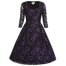 Lindy Bop Lisette Purple Black Lace Vintage Style Party Dress size 12 brand new with tags