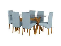 Heatley Glass DIning table with 6 Duck Egg Chairs