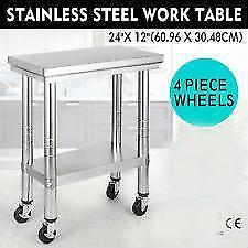 "12"" x 24"" Stainless steel work table - on wheels - BRAND NEW - FREE SHIPPING"