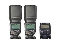 2x yongnuo YN600ex RT flashes and YN-E3-RT controller for Canon