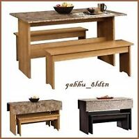 Dining Room Set Table Granite Finish Top & 2 Bench Space Saver