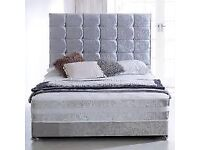 SALE ON FURNITURE-- DOUBLE AND KING SIZE CRUSH VELVET DIVAN BED BASE w OPT MATTRESS-CALL NOW