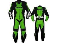 Kawasaki Ninja Motorbike Leather Racing Suit, CE Approved Armour