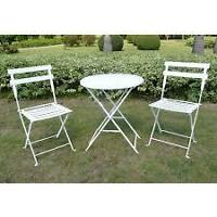 BEAUTIFUL WHITE HEAVY METAL BISTRO SET FROM TARGET