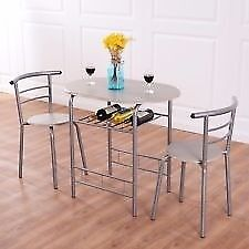 light wood and silver bistro dining table and 2 chairs
