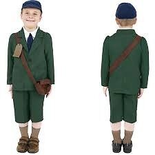 BOYS WORLD WAR 2 EVACUEE FANCY DRESS OUTFIT AGE 10/12 PLAY BOOK DAY