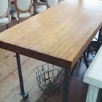 Industrial Butcher Block Table with Iron Frame