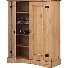 Puerto Rico 2 Door Shoe Cabinet-Solid Antique Pine