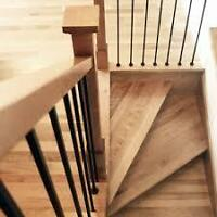 Menuisier-ébéniste fabrication d'escalier de bois franc