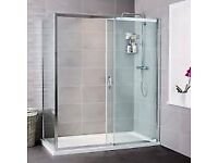 Shower enclosure with stone tray