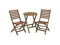 Wooden bistro style table and chairs