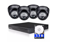 dvr 8 channel ahd system with 1 tb hard drive and 4 ahd 2 mp cameras 2 bullet 2 dome day/night