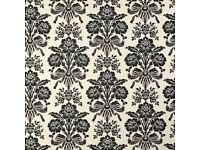 Laura Ashley Tatton Woven Damask Fabric Charcoal and Cream 25 metres