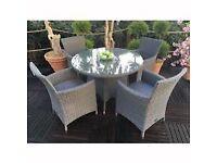 Bnib Maddison Grey Rattan Garden table & chairs