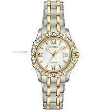 Citizen Womens Eco-Drive Two Tone Diamond Watch Ew2364-50a
