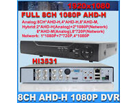 cctv system ahd 8 channel dvr with 1tb harddrive and 4 cctv cameras 2 1080p 2mp