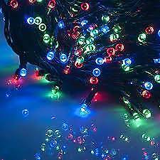 Xmas Solar Ed 200 Led Red Green Blue Fairy Lights 22m Cord