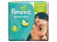 BNIB Pampers Baby-Dry Nappies, Size 3, 198 pk, brand new in box