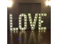 Hire - Light Up Love Sign - Cambridgeshire